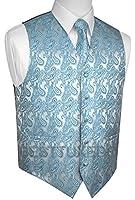 Brand Q Men's Tuxedo Vest, Tie & Pocket Square Set in Teal Paisley