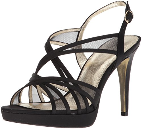 Adrianna Papell Women's Adri Heeled Sandal, Black Satin, 7.5 M US