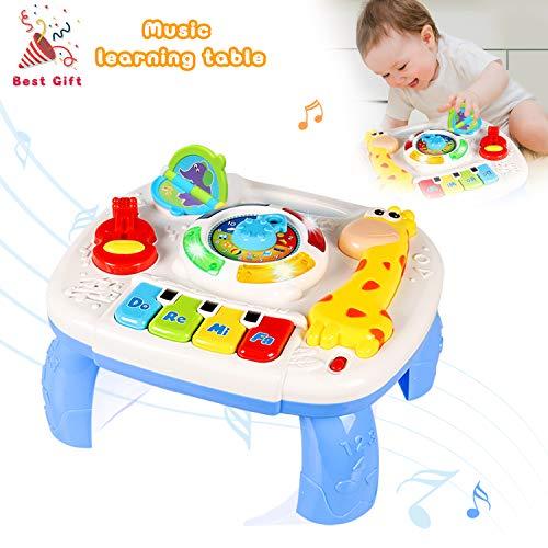 ACTRINIC Mesa Musical De Estudio Juguete para Bebes De 6 A 12 Meses Juguete De Educacion Temprana Juguete Musical Mesa De Juego Juguete para Ninos De 1 2 3 Anos-Sonidos y Luces Diferentes
