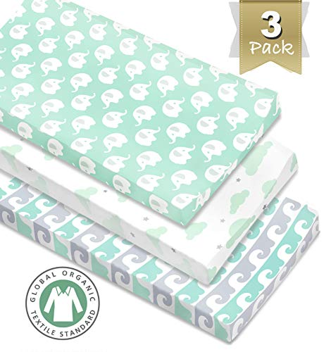 - 3 Pack Organic Cotton Changing Pad Covers or Cradle Sheet, Mint/Gray Unisex for Boy or Girl with Safety Belt Holes.