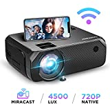 Bomaker HD Wi-Fi Projector, Wireless Synchronize Smart Phone Screen, 4500 Lux, 1080P and 300'' Display Supported, HD Portable HDMI Projector, for Android/iOS/Laptops/PCs/Windows 10