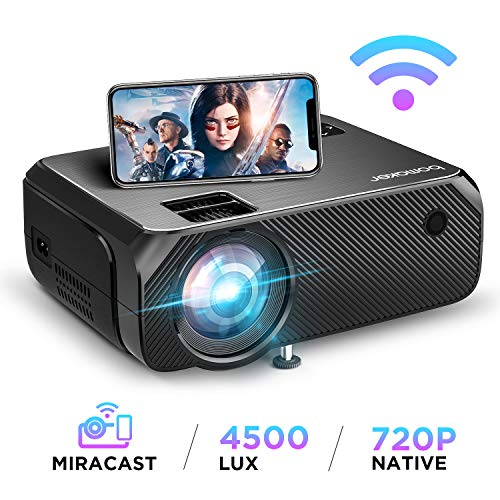 """Bomaker Wi-Fi Mini Projector, Upgraded 4500 Lux, Full HD 1080P and 300"""" Display Supported Portable HDMI Projector, Wireless Screen Mirroring and Miracast, for Android/ iOS / Laptops/ PCs/ Windows 10"""