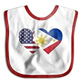 Philippines USA Flag Twin Heart Infant Toddler Bibs Super Absorbent Cute Prints Baby Bib Funny Baby Shower - Gift