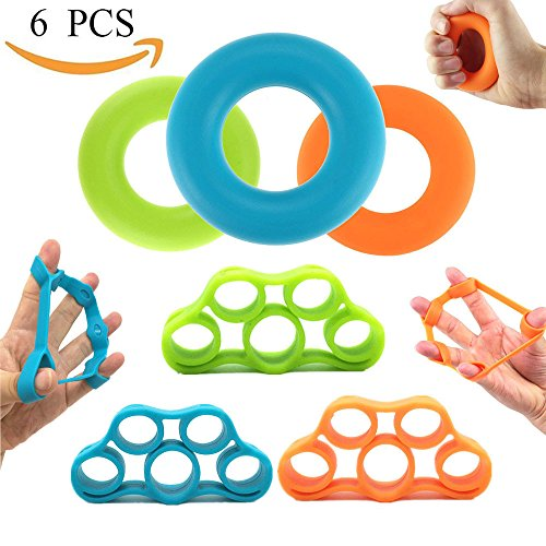 Hand Strengthener Bands,Finger Stretcher Hand Resistance Grip Rings - Extender Exerciser Strengtheners Trainer for Muscle Built, Physical Therapy, Office Stress Relief by Taopu