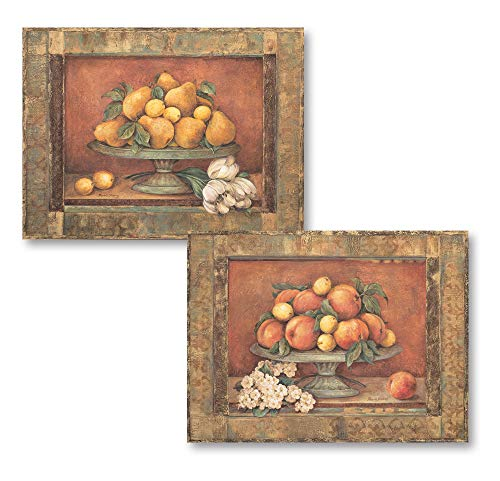 Gango Home Decor Florentine Peach & Pear; Two 14x11in Classic Fruit Bowl Still Life Poster Prints ()