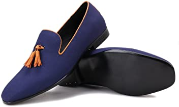 f26efe0fb7c Merlutti Pompon Loafers with Tassel Men s Casual Loafers and Slip-ONS Flat  Orange Brown Black