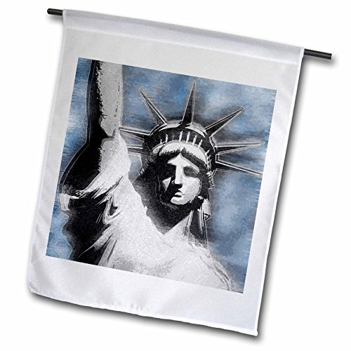 3dRose fl_19424_1 Lady Liberty Digitally Stylized Statue of Liberty in Gray and Blue Colors Garden Flag, 12 by 18-Inch (Lady Liberty Flag)