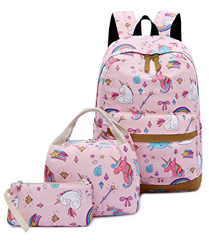 Backpack for School Girls Teens Bookbag Set Water Resistant 15 inches Laptop Daypack (E0026 Pink)]()