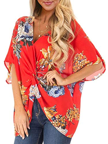 (ELF QUEEN Womens Casual Short Sleeve V Neck Ruched Twist Floral Tunic Tops for Women Shirts Tops and Blouse Red Medium)