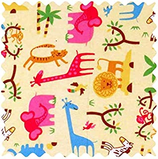 product image for SheetWorld 100% Cotton Flannel Fabric by The Yard, Jungle Animals Yellow, 36 x 44