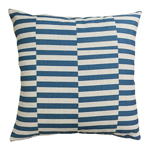 TAOSON Blue Coral Stripes Herringbone Chevron Geometric Cotton Linen Home Decorative Throw Pillow Cover Cushion Cover PillowCase Only Cover No Insert-18x18 Inch 45x45cm - Stripe Cotton Chevron
