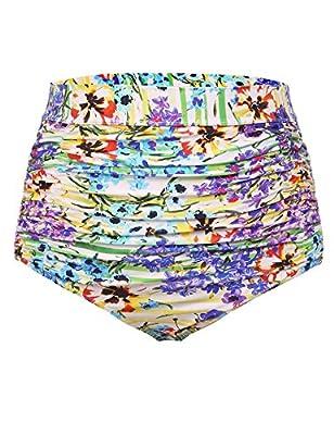 IN'VOLAND Women Plus Size Retro High Waisted Bikini Bottom Ruched Swim Short Tankinis