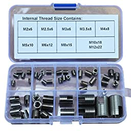 48Pcs M2 - M12 304 Stainless Steel Solid Insert Thread Repairing Metal Threads