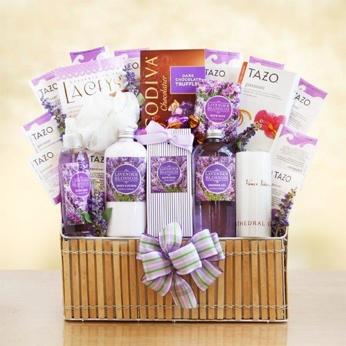 Lavender Fields Spa with Godiva Chocolate for Her -Women's Birthday, Holiday, or Mother's Day Gift Basket