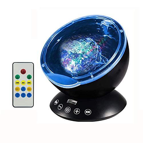 Testudo Remote Control Ocean Wave Projector 12 LED &7 Colors Night Light with Built-in Mini Music Player,Star Projector for Baby Kids Adults Living Room and Bedroom (Black)