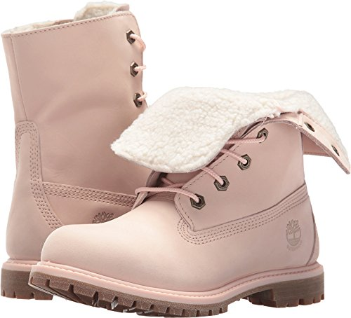 Timberland Authentics Teddy Fleece Waterproof Fold-Down Boot Light Pink Nubuck (Womens) (8.5 B(M) (Authentic Boots)