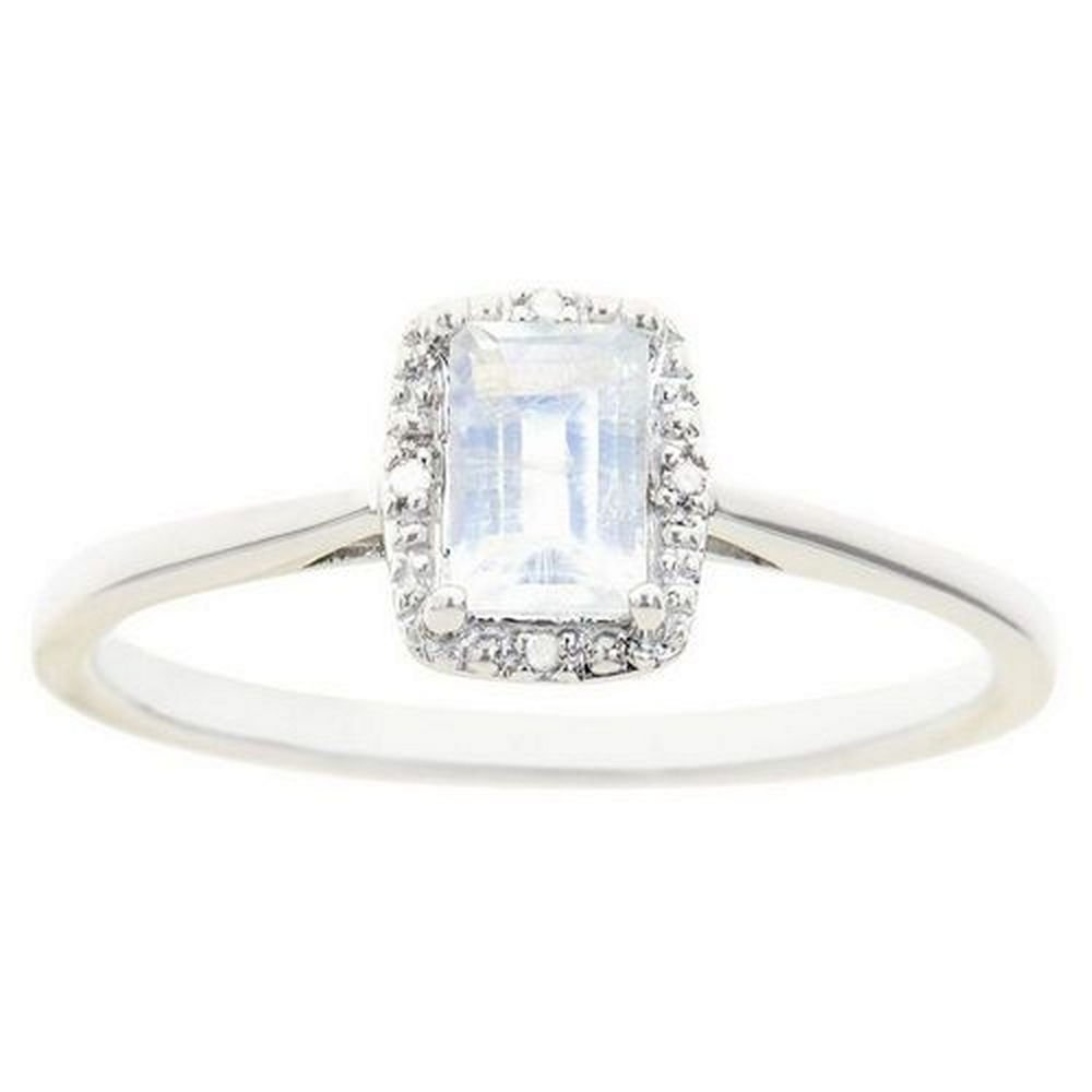 Emerald Cut Moonstone & Diamond Halo Engagement Ring | 925 Sterling Silver