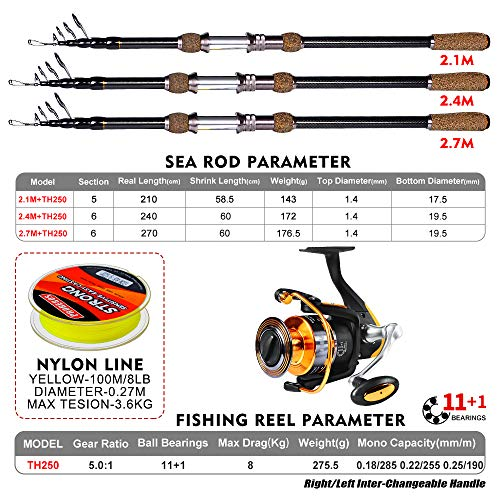 Fishing Rod and Reel Combos - Telescopic Fishing Pole Spinning Reels Full Kit - for Fishing Travel Saltwater Freshwater Fishing