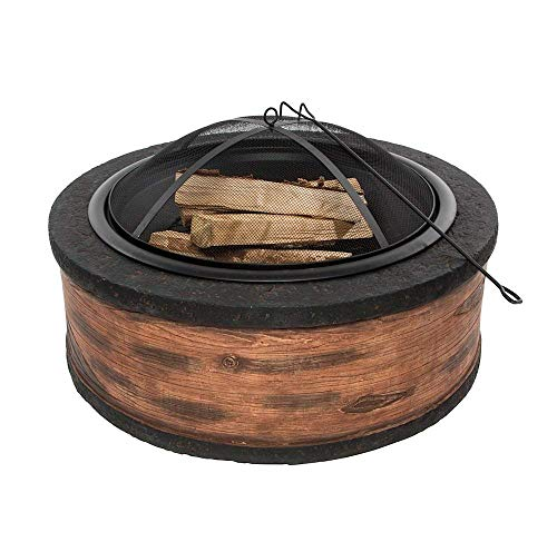 Rustic Brown Wood Burning Fire Pit 35' Diameter Steel Base w/ 26' Mesh Screen Spark Protector w/ Lift Hook, Large Heat Resistant Fire Bowl,...