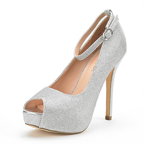 DREAM PAIRS Women's Swan-10 Silver Glitter High Heel Plaform Dress Pump Shoes - 7.5 M US - 5 Inch Silver High Heel