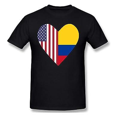 Media Bandera de Colombia Media Bandera de los EE. UU. Love Heart Camiseta de Manga Corta para Hombre Cuello Redondo Camisetas con Cuello Redondo para Hombres: Amazon.es: Ropa y accesorios