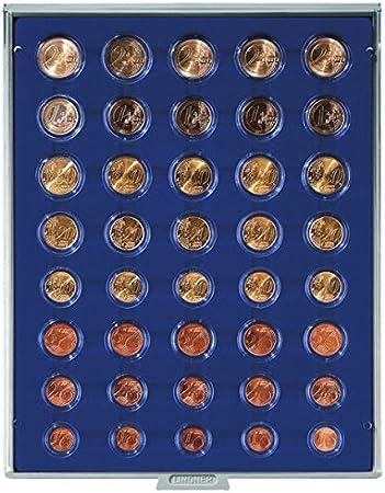 Bandeja de monedas 40 compartimentos para 5 juegos de monedas Euro [Lindner 2556M], por ejemplo para 5 encapsulados juegos de monedas Euro - Versión: Marine (Gris / Pantalla azul): Amazon.es: Juguetes y juegos