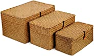 DOKOT Woven Wicker Storage Bins with Lid, Seagrass Basket for Shelf Organizer, Extra Large, Set of 3