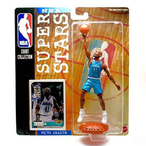 GLEN RICE / CHARLOTTE HORNETS * 98/99 Season * NBA SUPER STARS Super Detailed Figure, Display Base & Exclusive Upper Deck Collector Trading Card