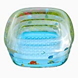 Blue Kid Inflatable Folding Bathtub, Portable Foldable Thicker Basin Seat Baths Tub Bath Home SPA Baby Playing Pool