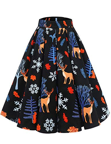 DRESSTELLS Women's Pleated Skirt Floral Print A-line Vintage Party Cocktail Full Circle Skirt with Pockets