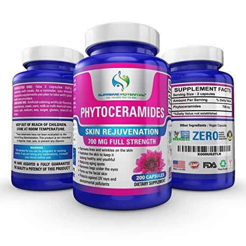★ Phytoceramides du potentiel suprême, 200 Capsule Supply, Phytoceramides 700mg par portion, formule Premium, Combats les signes communs de peau vieillissante et terne!