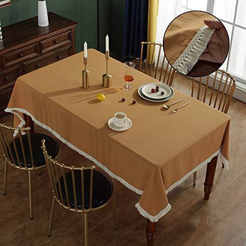 XHHXPY Mantel De Algodon Color Solido Borla Mantel Prueba De Manchas Y Polvo Mantel Rectangular para Cocina Almuerzo Fiestas Manteleria De Mesa De Picnic,Camel,140 * 180cm
