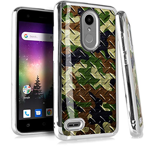 (Compatible LG Aristo 2 X210 | Tribute Dynasty | K8 (2018) | Fortune 2 | Zone 4 | Risio 3 Case Electroplated Chrome TPU Brushed Textured Hybrid Phone Cover (Camo Green Brown Crosshatch))
