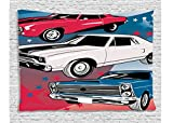 Ambesonne Cars Decor Collection, Pop Art Stylized Group of Nostalgic American Muscle Cars with Stars Steam Antique Print, Bedroom Living Room Dorm Wall Hanging Tapestry, 80 X 60 Inches, Red Beige Blue