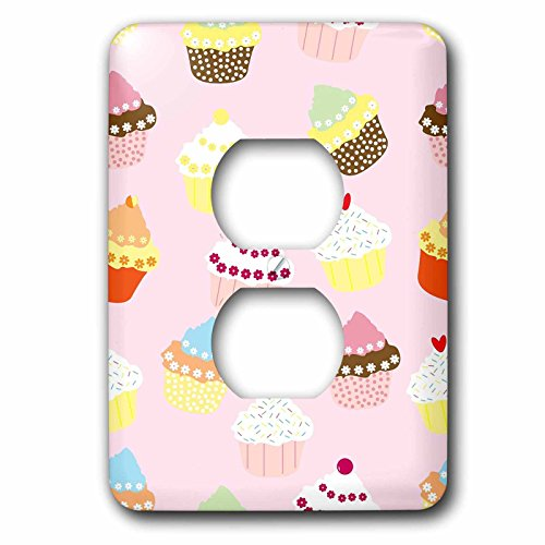 3dRose lsp_279990_6 Image of Assorted Pastel Cupcakes On Pink Plug Outlet Cover