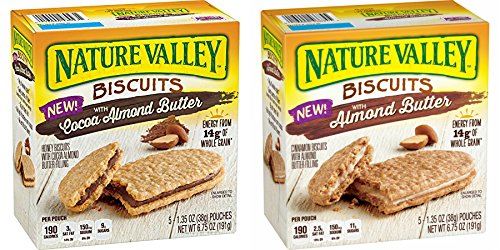 Nature Valley Biscuits With Cocoa Almond Butter & Almond Butter 5 Count (PACK OF 2)