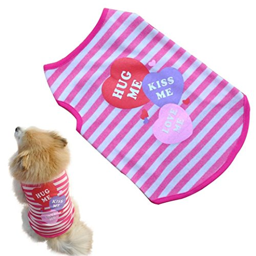 Howstar Pet Shirts Super Cute Puppy T Shirt Kisses Printed Dogs Summer Vest Costumes Cat Tank Top (S, Pink)