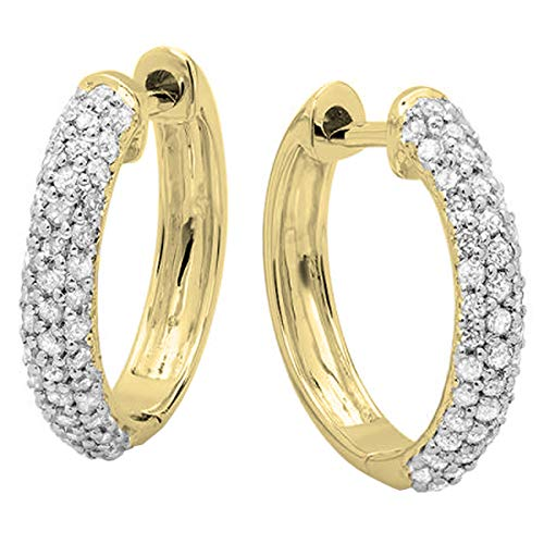 Dazzlingrock Collection 0.50 Carat (ctw) 10K Round Lab Grown Diamond Ladies Huggies Hoop Earrings 1/2 CT, Yellow Gold ()