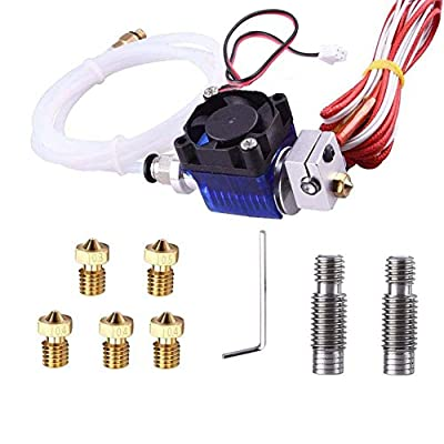 Kee Pang All-Metal V6 J-Head Hotend Extruder Hotend full kit with 2 pcs Stainless Steel Nozzle Throat + 5 Pcs Brass Printer Nozzles for E3D V6 Makerbot RepRap 3D Printers