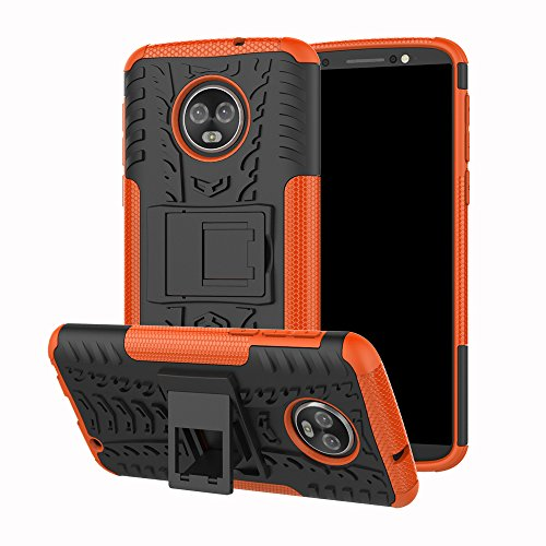 ZER Shockproof Hybrid Slim Dual Layer Rugged Rubber Hybrid Hard/Soft Impact Armor Defender Full Body Protective Case Cover With Kickstand for Motorola Moto G6 Plus 2018 Model ()
