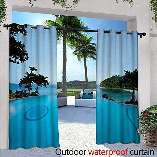 (Landscape Exterior/Outside Curtains W72 x L108 Pool View at Sunset Beach in Seacoast Ocean Vibrant Colors Adventure Photo for Patio Light Block Heat Out Water Proof Drape Turquoise Green)