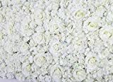 """48"""" X 96"""" Artificial Silk Rose Flower Background Backdrop Wall Wedding Party Decor ( White )"""
