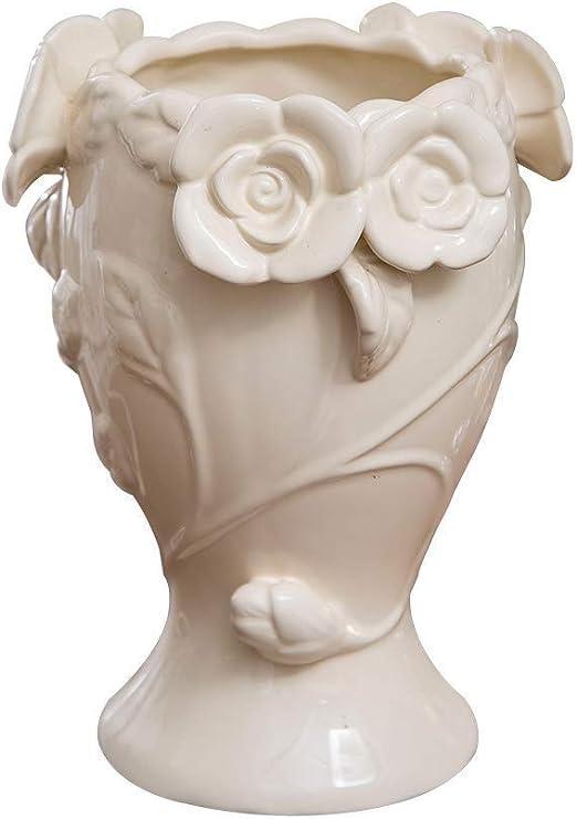 AJJZX Florero de cerámica Blanca Florero Elegante decoración ...