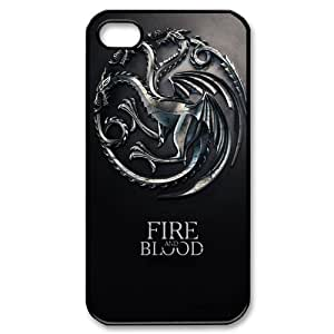 Hot TV Play Game of Thrones Badge Theme Case Cover for iPhone 4/4S - Personalized Hard Cell Phone Back Protective Case Shell-Perfect as gift