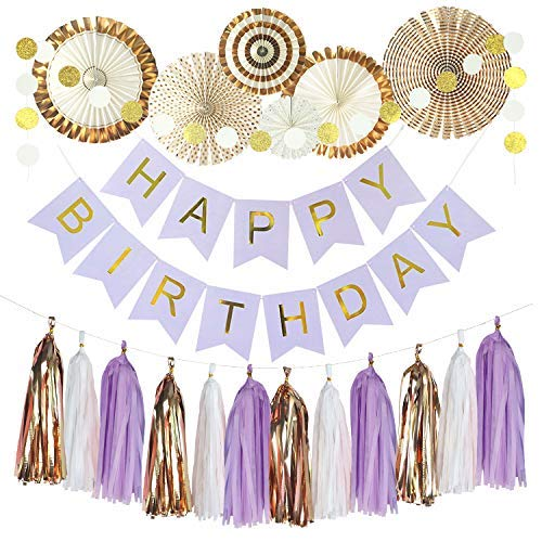 Birthday Decoration,Colo-Go Happy Birthday Banner, Tissue Paper Pom Poms, Hanging Paper Fan Set for All Birthday Party Decorations - Gold and White