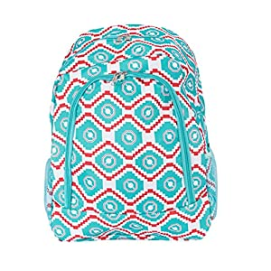 School Backpack for Boys and Girls, Sturdy and Water-Resistant (Geometric Turquoise / Red)