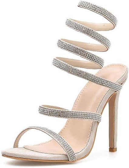 Women/'s Ladies Slip On Diamante High Heel  Glitter Party Wedding Sandals Shoes