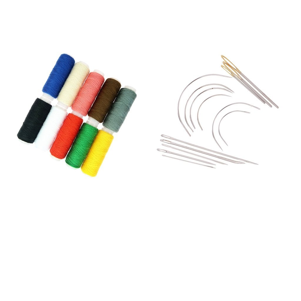 Flameer 24Pcs Upholstery Sewing Kit Darning Needles And Thread For Leather Sewing