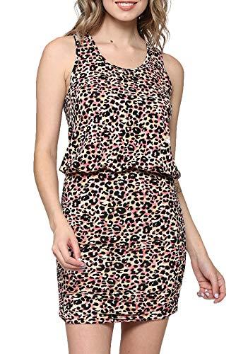 (LaClef Women's Mini Ruched Tank Shift Dress (Black/Pink Leopard, L))