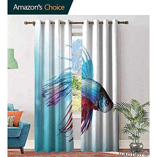 Big datastore Aquarium Customized CurtainsSiamese Fighting Betta Fish Swimming in Aquarium Aggressive Sea Animal Darkening Bedroom Living Curtains W84 x L84 Sky Blue Dark Coral